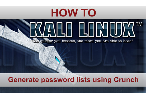 Password list generation with Crunch in Kali Linux
