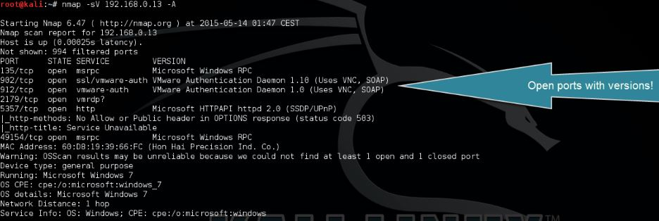 nmap open port scanning and os detection 2