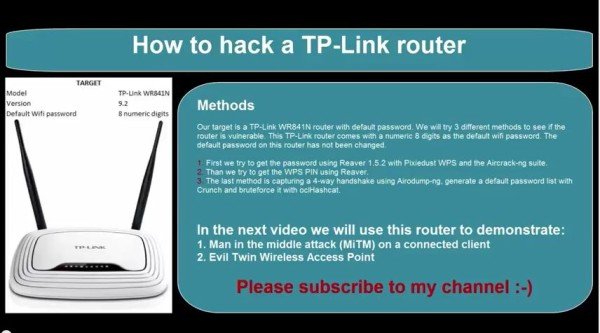 How to hack a TP link WR841N router wireless network