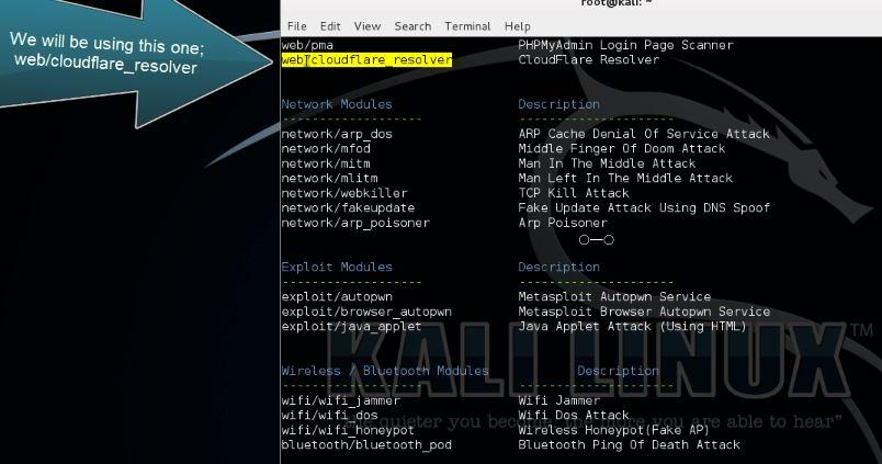 Websploit Cloudflare Resolver Tutorial
