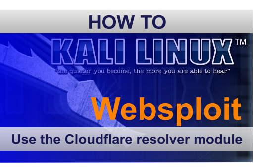 Websploit Cloudflare Resolver module Kali Linux