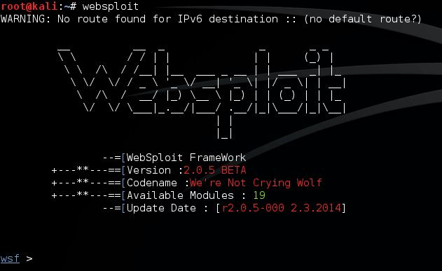 Websploit start