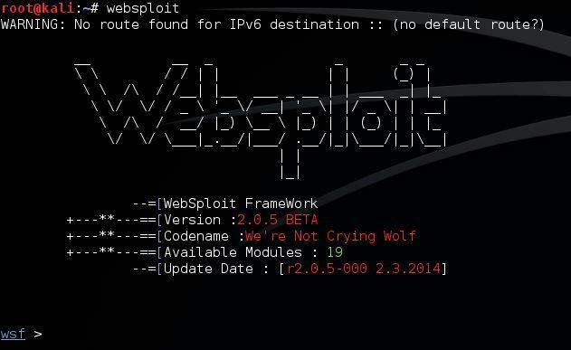 Websploit start