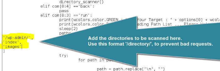 websploit directory Scanner custom dirs