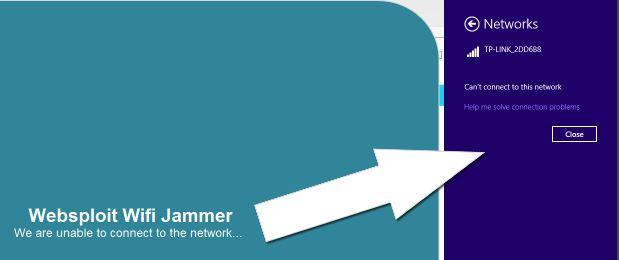 Websploit Wifi Jammer disconnected