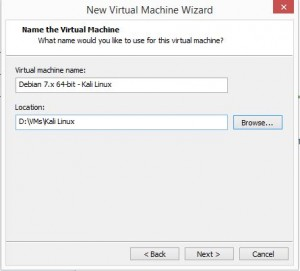 Kali Linux Installation - Name the virtual machine 4