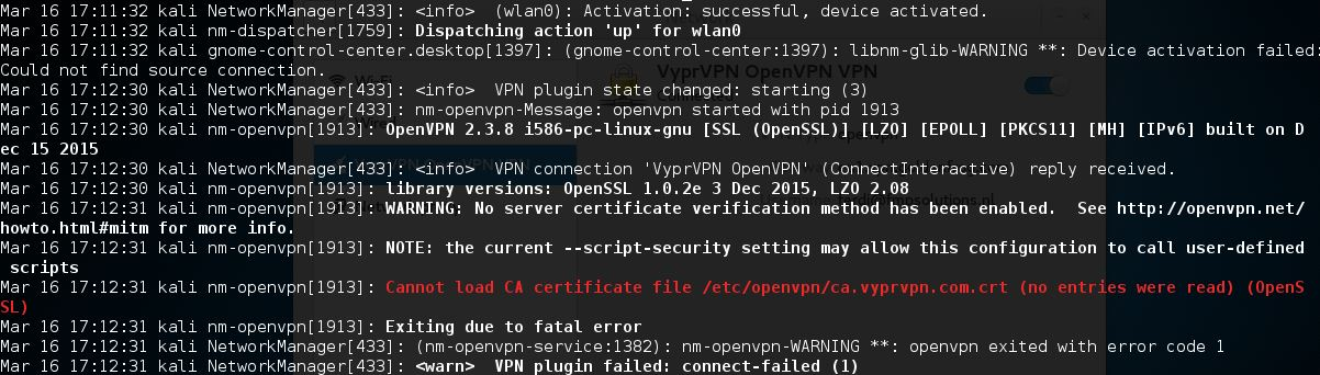 Installing VPN on Kali Linux 2016 - VPN activation of network connection failed 10