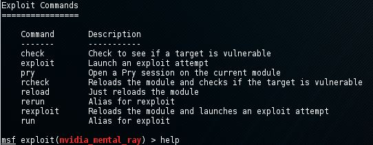 Metasploit exploit help command 2