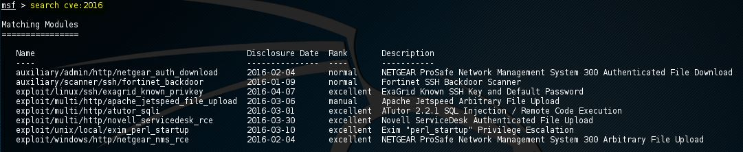 Metasploit exploits 2016