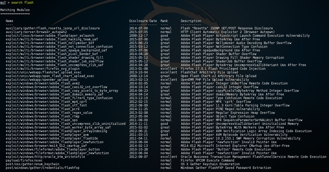 Metasploit search flash exploits 5