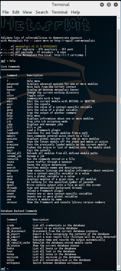 Metasploit commands