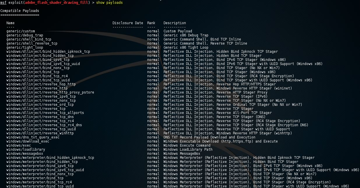 Metasploit show payloads command 9