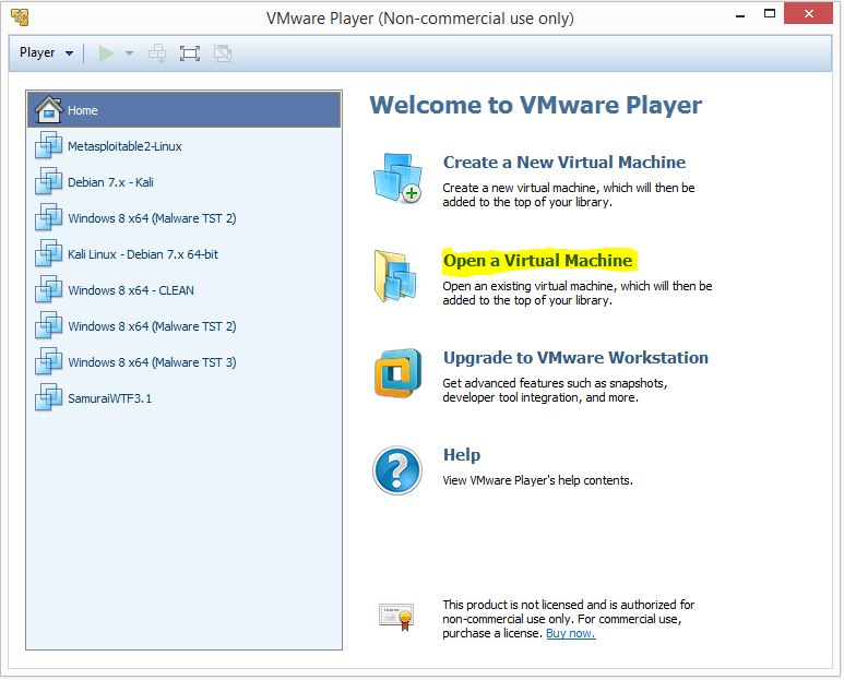 Metaspoitable 2 - VMware player 1