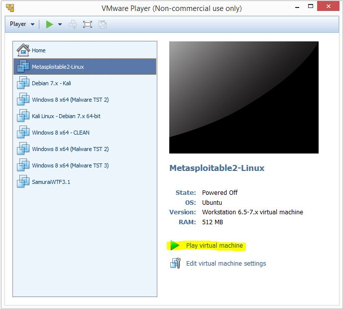Metaspoitable 2 - VMware player 2