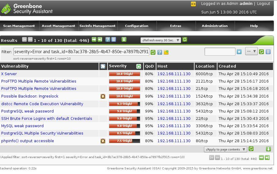 Open-VAS vulnerability scanner
