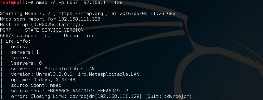 Metasploitable 2 Unreal ircd Nmap scan - 3