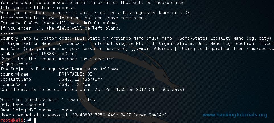 OpenVAS setup password
