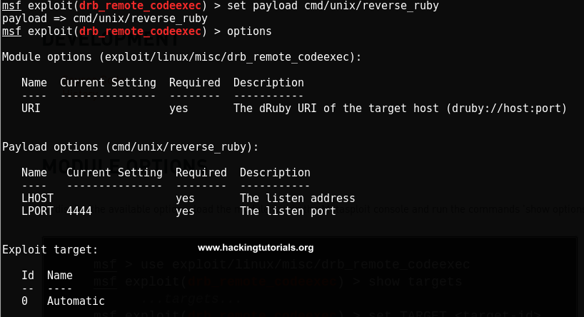 exploiting-druby-rmi-server-1-8-Metasploit-exploit-options