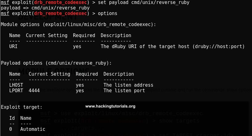 exploiting-druby-rmi-server-1-8-Metasploit-exploit-options
