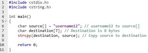 buffer overflow strcpy code