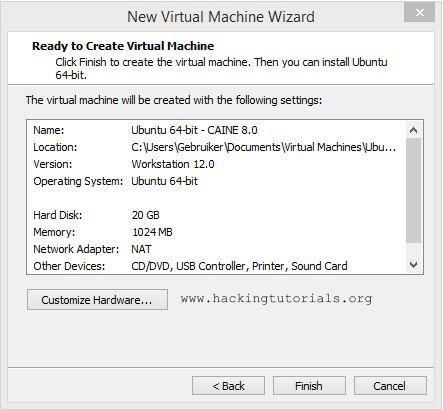 Caine VM Hardware settings