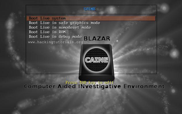 Caine 8 live cd startup menu