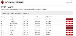 Virtual Hacking Labs Reset Panel