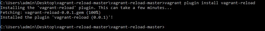 1 Install vagrant-reload