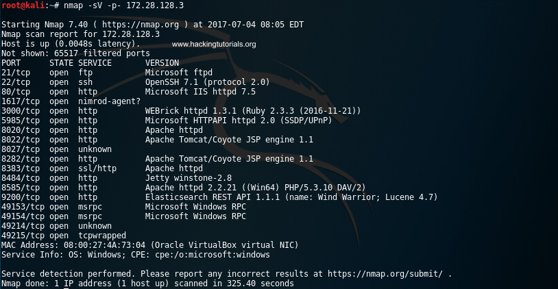 1 Metasploitable 3 - NMap scan