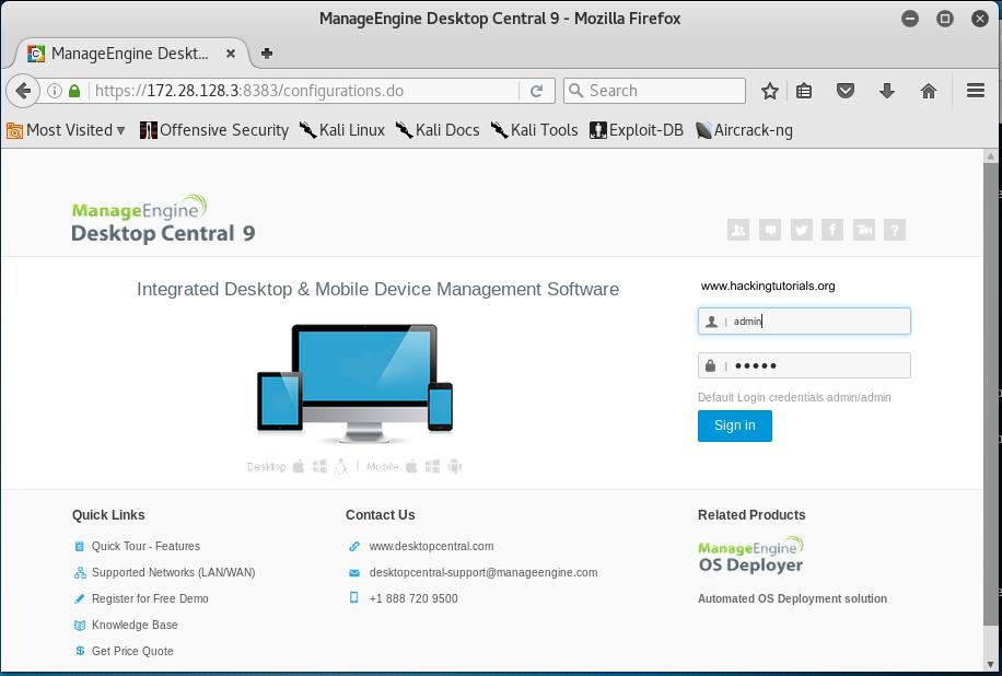 2 Metasploitable 3 - ManageEngine Desktop Central administration panel