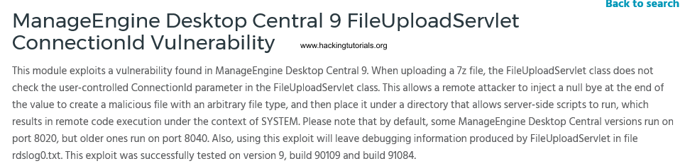 5 Metasploitable 3 - ManageEngine Desktop Central exploit