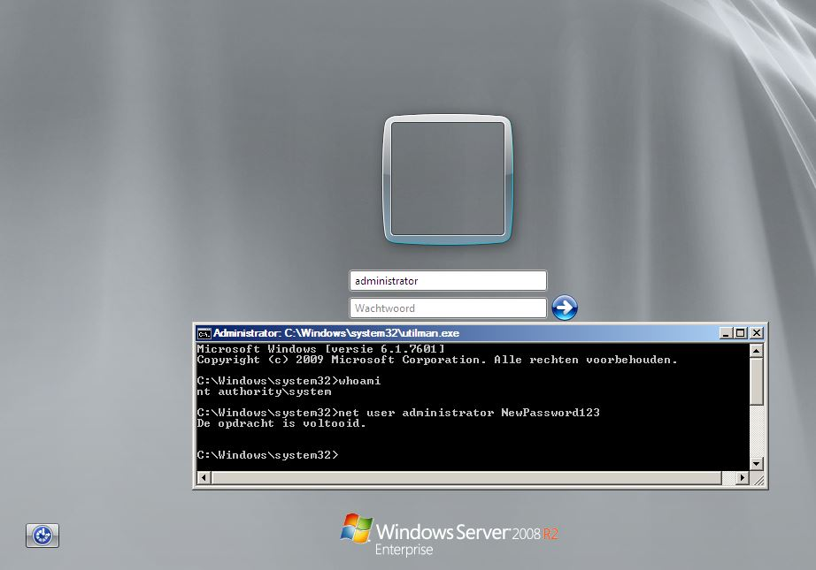 How to bypass authentication on Windows Server 2008 R2
