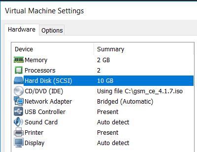 Especificaciones VMware Workstation VM