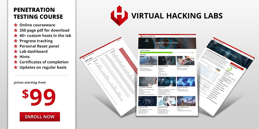 Virtual Hacking Labs - Penetration testing lab